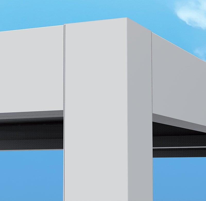 pergolato con struttura in alluminio anodizzato e acciaoio inossidabile