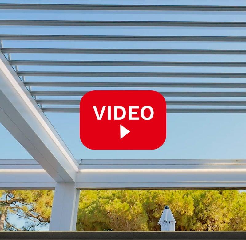 anteprima video pergolato in alluminio Taylor retrattile con lamelle orientabili